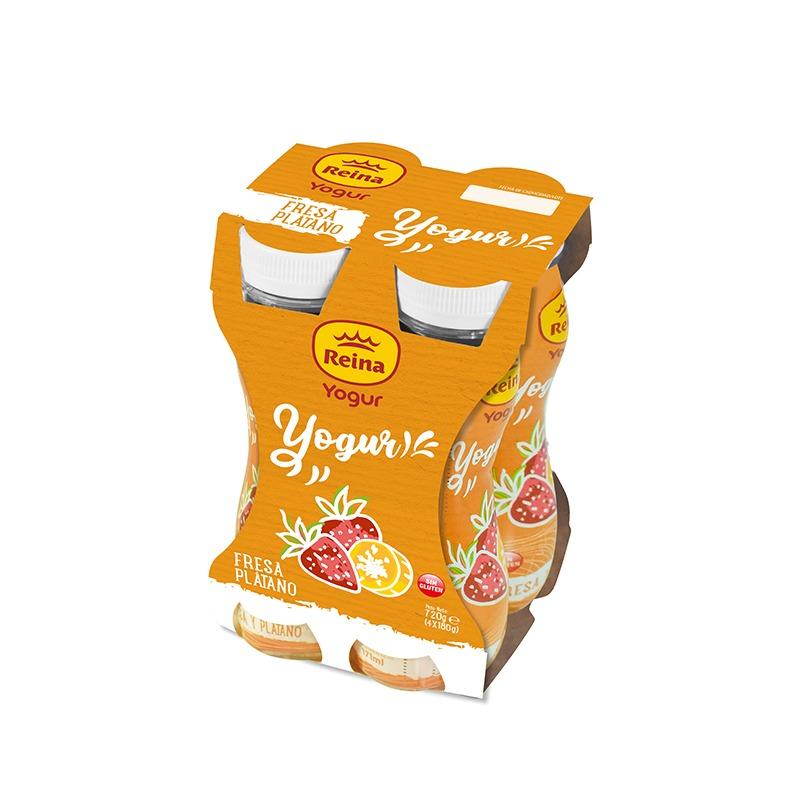 Yogur bebible fresa y plátano 4x180g -Postres y Yogur Reina